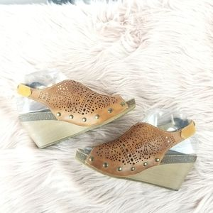 Pikolinos Brown Leather Open Toe Wedges Size 7
